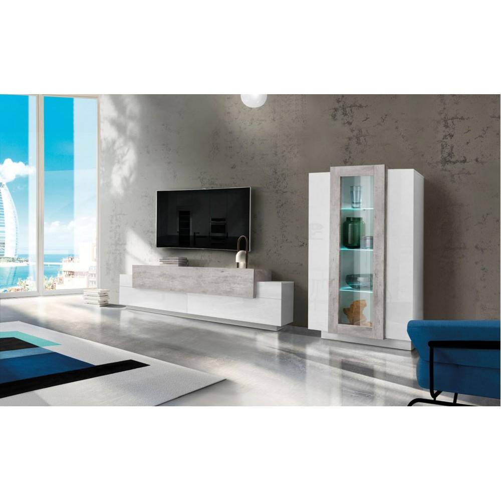 BAND Soggiorno Vetrina + Porta TV Bianco Lucido - Cemento