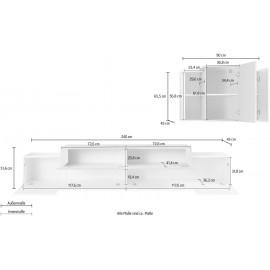 BAND Pensile + Porta TV 240 Bianco Lucido - Cemento