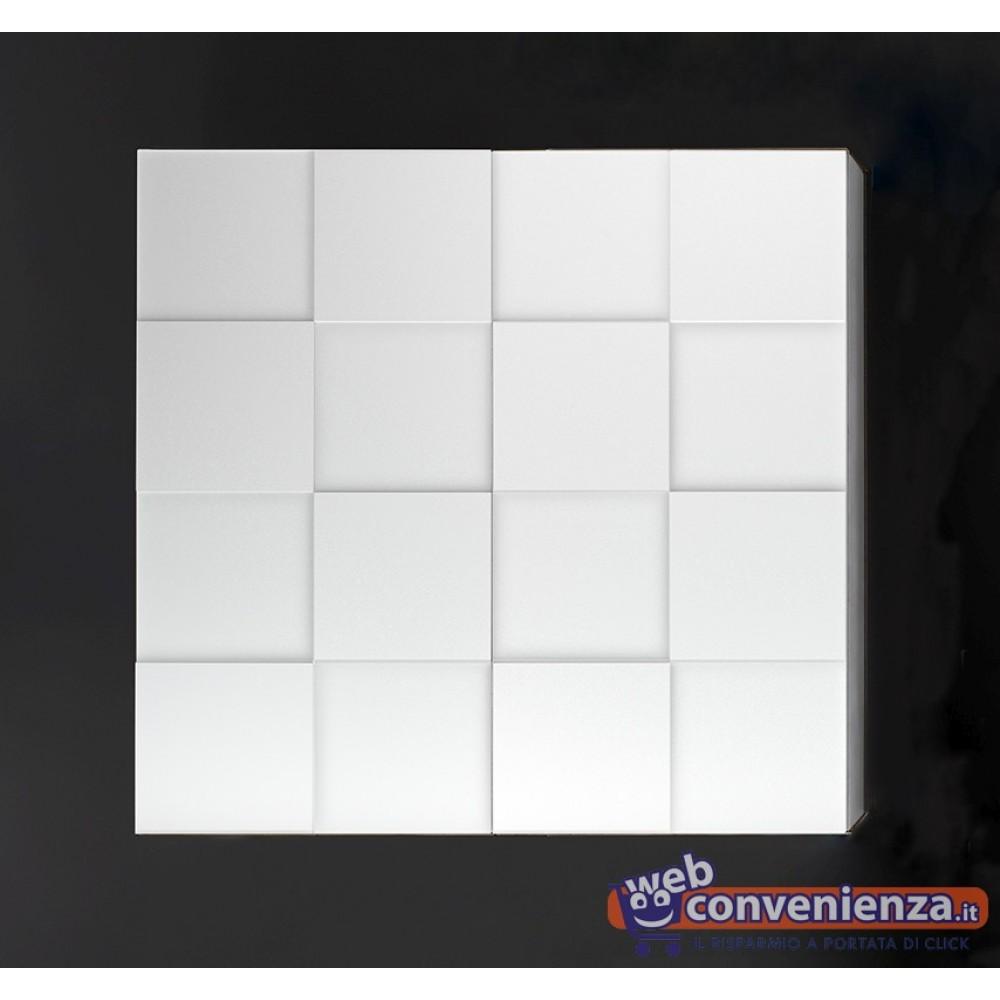 INFINITY Pensile Contenitore 2 Ante Effetto Dama Bianco Lucido