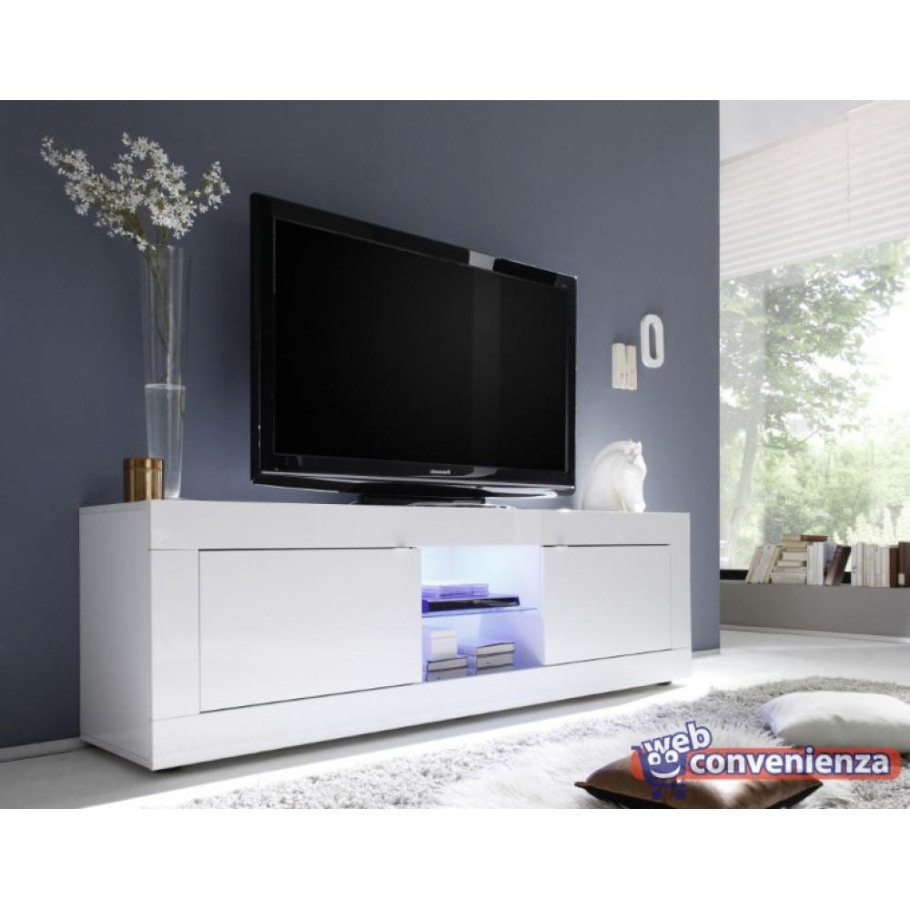 Basic Porta Tv Contenitore 2 Ante Bianco Lucido 180 Cm