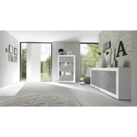 Basic Vetrina 4 Ante Bianco Lucido /Cemento Beton