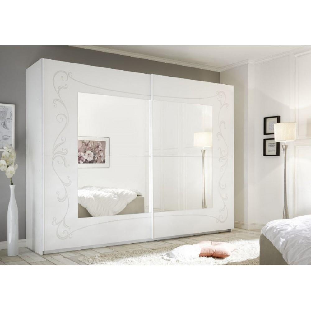 Armadio A Specchio Usato.Soler Armadio Scorrevole Con Specchio 275 Bianco Opaco E Serigrafia Floreale Web Convenienza